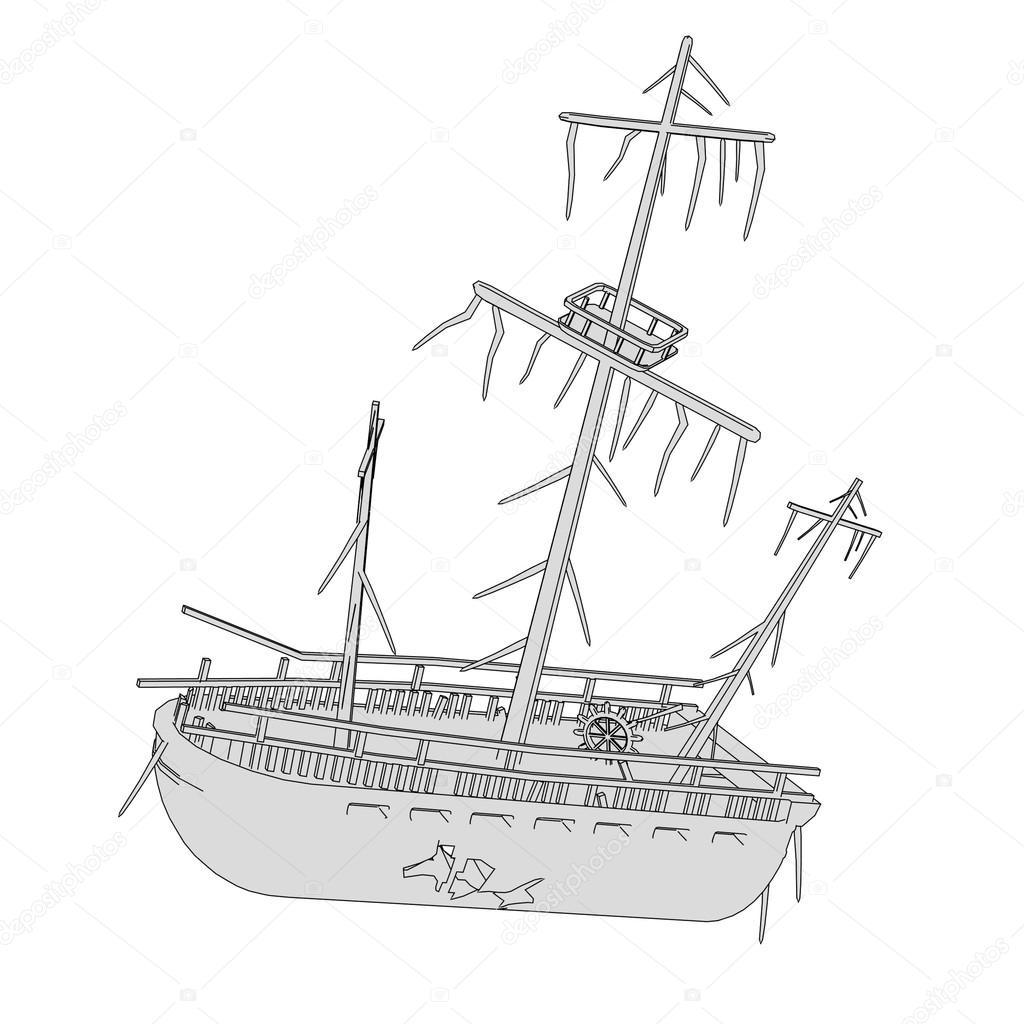 1024x1024 Cartoon Image Of Ship Wreck Stock Photo 3drenderings