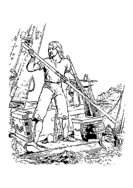 531x750 Coloring Page Robinson Caruso Shipwreck