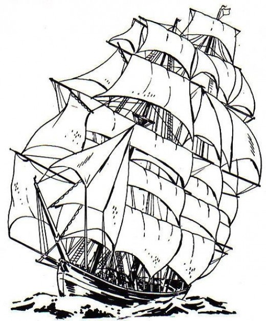 520x628 Free Ship Coloring Pages For Kids And Adults Free Shipping