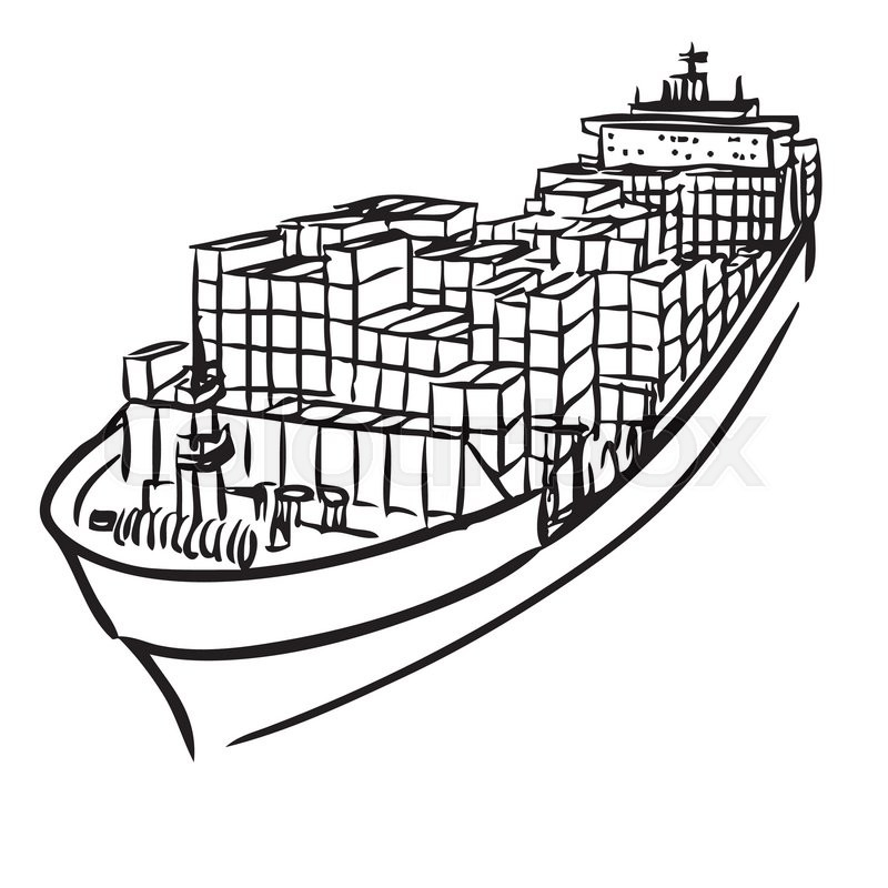 800x800 Freehand Sketch Illustration Of Cargo Ship With Containers Icon