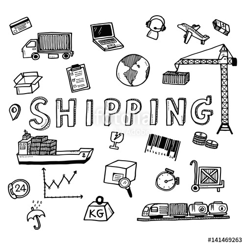 500x500 Hand Draw Shipping Business Doodles Icon Set For Global