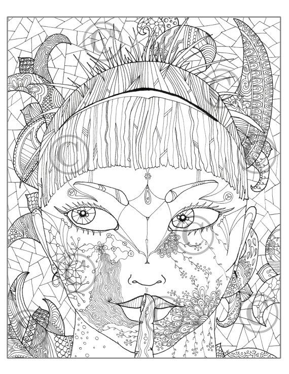 570x738 Mandala Coloring Drawing Women 0006 Coloring Women