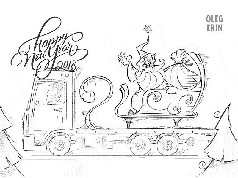 800x600 New Year, Drawing, Sketch, Claus, Christmas, Merry, Shipping