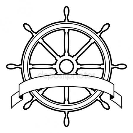 450x450 Ship Wheel Outline Drawings Stock Vector Viktorijareut