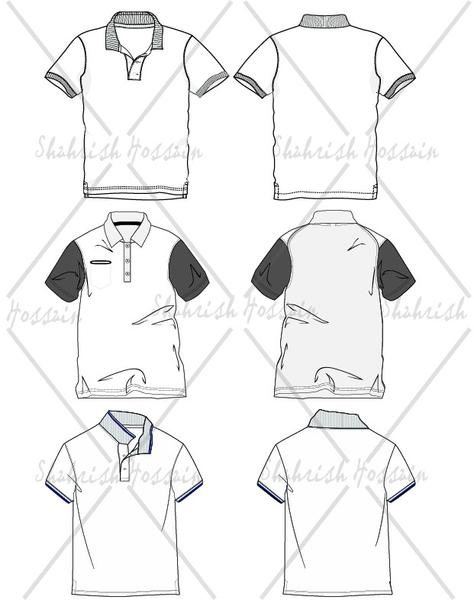 474x600 Men's Polo Shirt Fashion Flat Template Illustrator Stuff