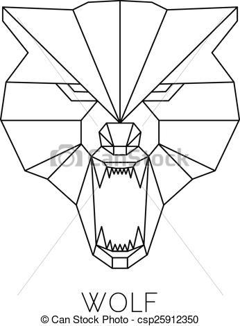 346x470 Wolf Head Geometric Style. Vector Print T Shirt. Wolf Head