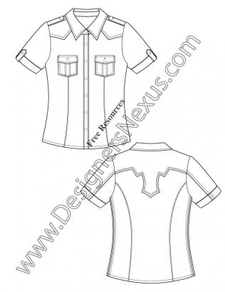 316x409 V50 Short Sleeve Western Shirt Flat Fashion Sketch Template