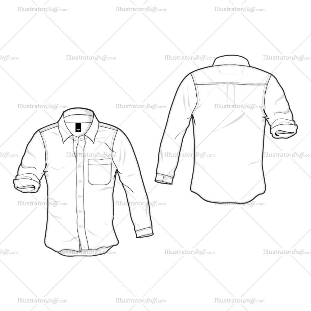 1001x1001 Women's White Cotton Shirt Fashion Flat Template Illustrator Stuff