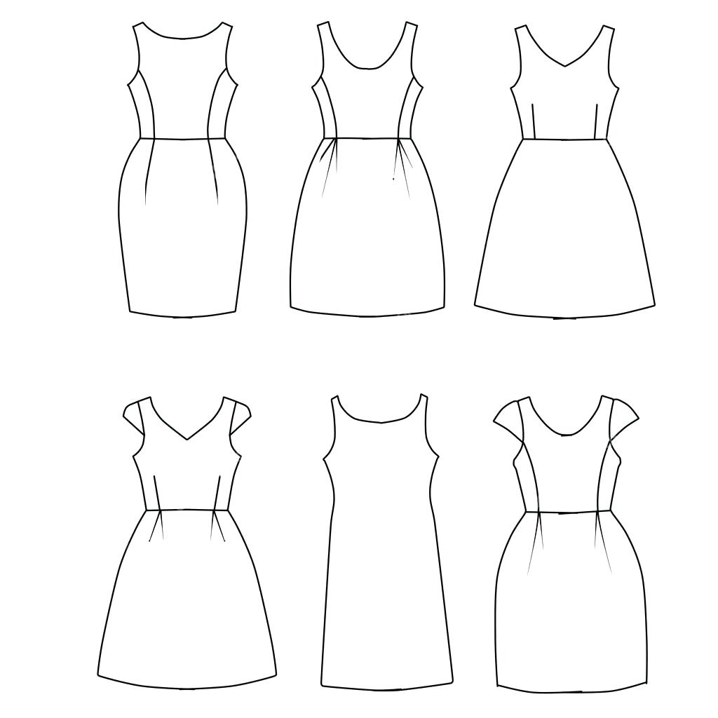 1024x1024 Template Template Woman Set Of Flat Sketch Fashion Dresses Stock