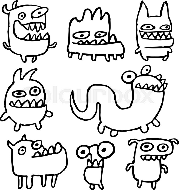753x800 Funny Outline Monsters In Different Shapes In Black White Colors