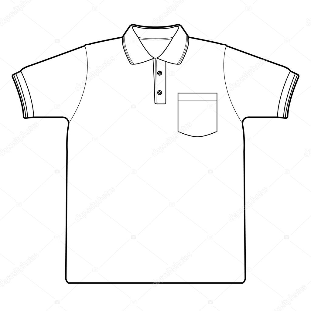 1024x1024 Polo Shirt Outline Vector Stock Vector Attaphongw