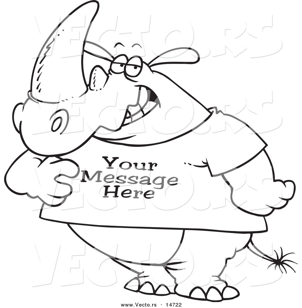 1024x1044 Vector Of A Cartoon Rhino Wearing A T Shirt With Sample Text