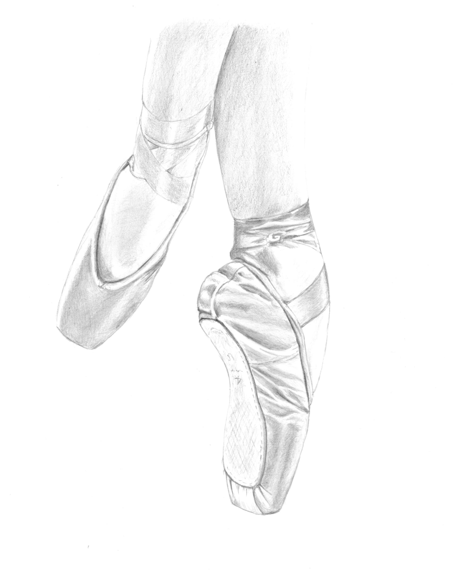 1920x2421 Saatchi Art En Pointe Ballet Shoes Drawing By Tracey Carmen