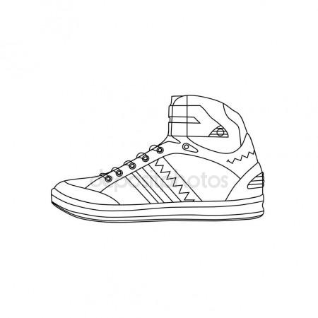 450x450 Drawing Sketch Of Comfortable Sneaker For Training Stock Vector