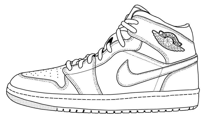 804x466 Sneaker Line Drawing Aj1 Diy Coloring Books