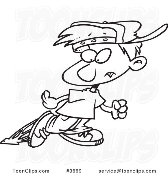 581x600 Cartoon Black And White Line Drawing Of A Little Boy Looking Back