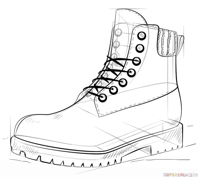 642x575 How To Draw A Hiking Boot Step By Step Drawing Tutorials