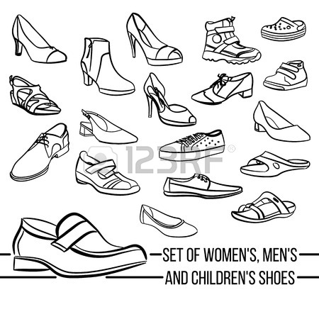 450x450 Line Drawing Of Shoes And Boots Stock Photos. Royalty Free
