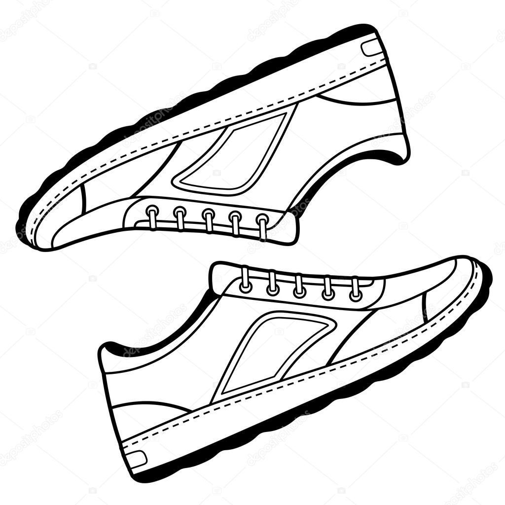 1024x1024 Pair Black Outlined Sneakers Shoes Stock Vector Arlatis