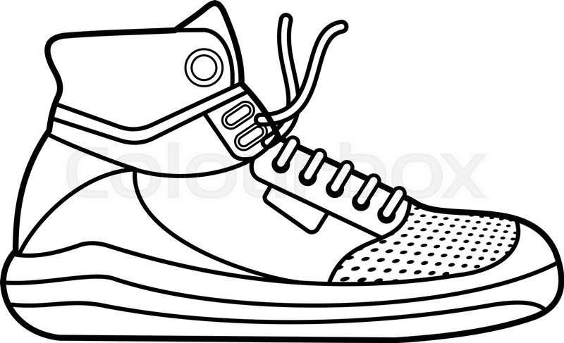 800x487 Vector Illustration Of Sneakers. Sports Shoes In A Line Style