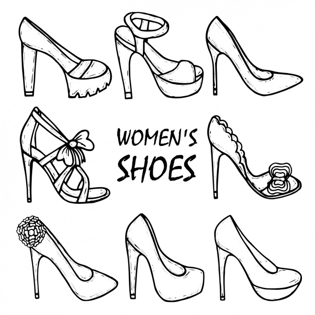 626x626 Women's Shoes Collection Vector Premium Download