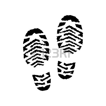 450x450 Shoe Print Vector Isolated, Pair,running Shoe Print, Silhouette