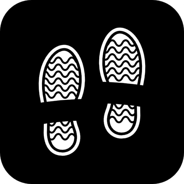 626x626 Shoe Prints On A Black Square Background Icons Free Download