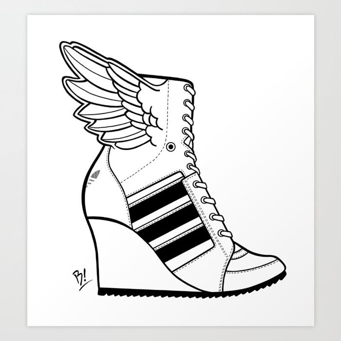 700x700 Adidas Winged Wedge Sneaker Bootie Art Print By Hithereb Society6