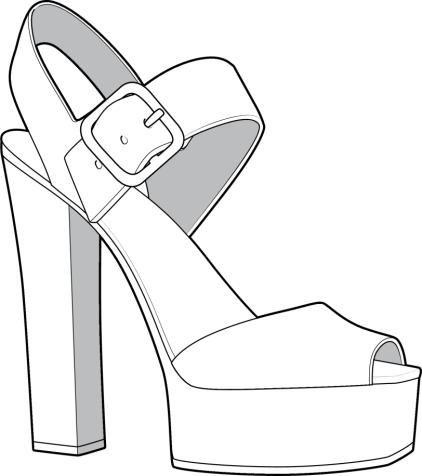 422x476 Footwear Tech Sketch Simple Two Strap Sketching
