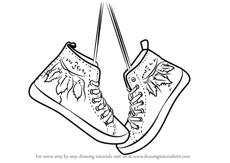 800x567 Learn How To Draw Hanging Shoes (Everyday Objects) Step By Step
