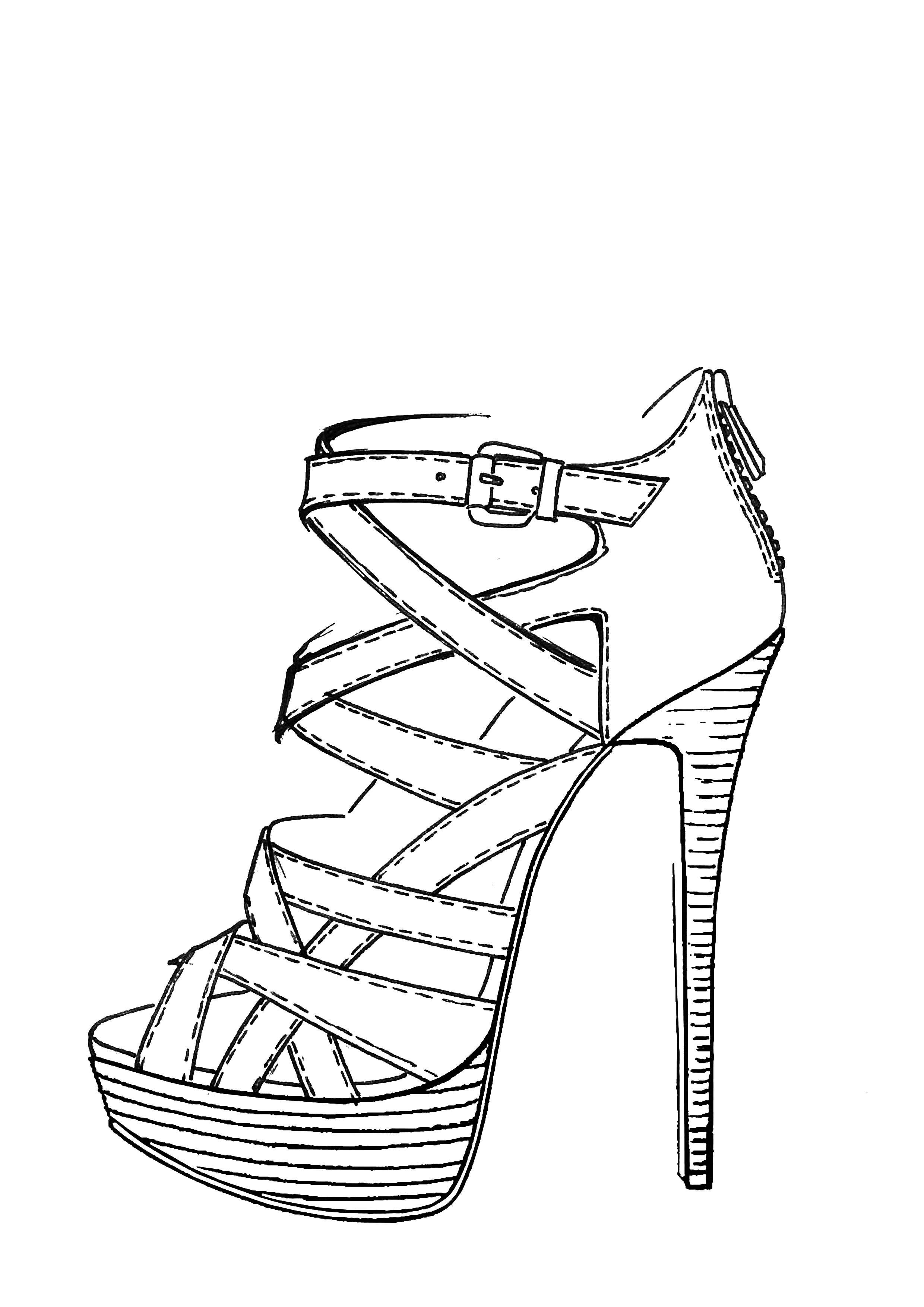 2480x3508 High Heel Shoe Drawing
