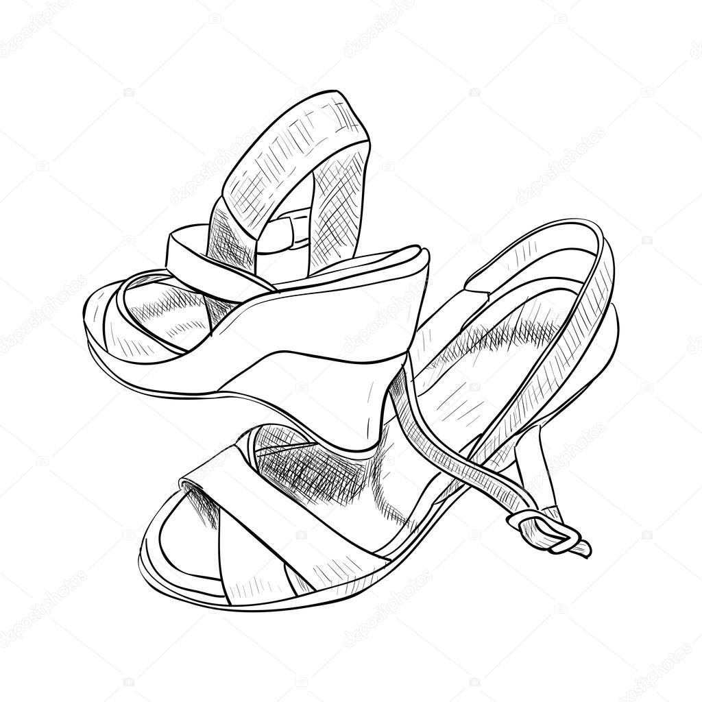 1024x1024 Sketch Of Female Shoes. Stock Vector Beatwalk