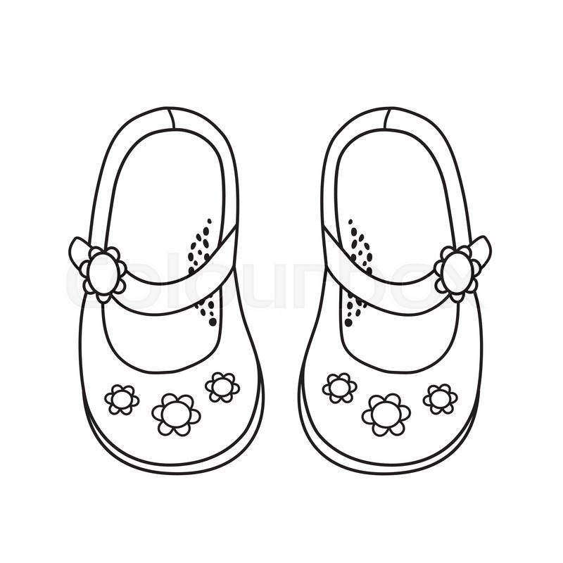 800x800 Shoes For Little Girls. Hand Drawn Outline And Stroke. It Can Be