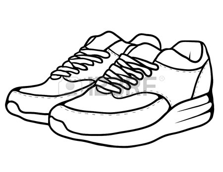 450x348 Contour Black And White Illustration Of Sneakers. Vector Element
