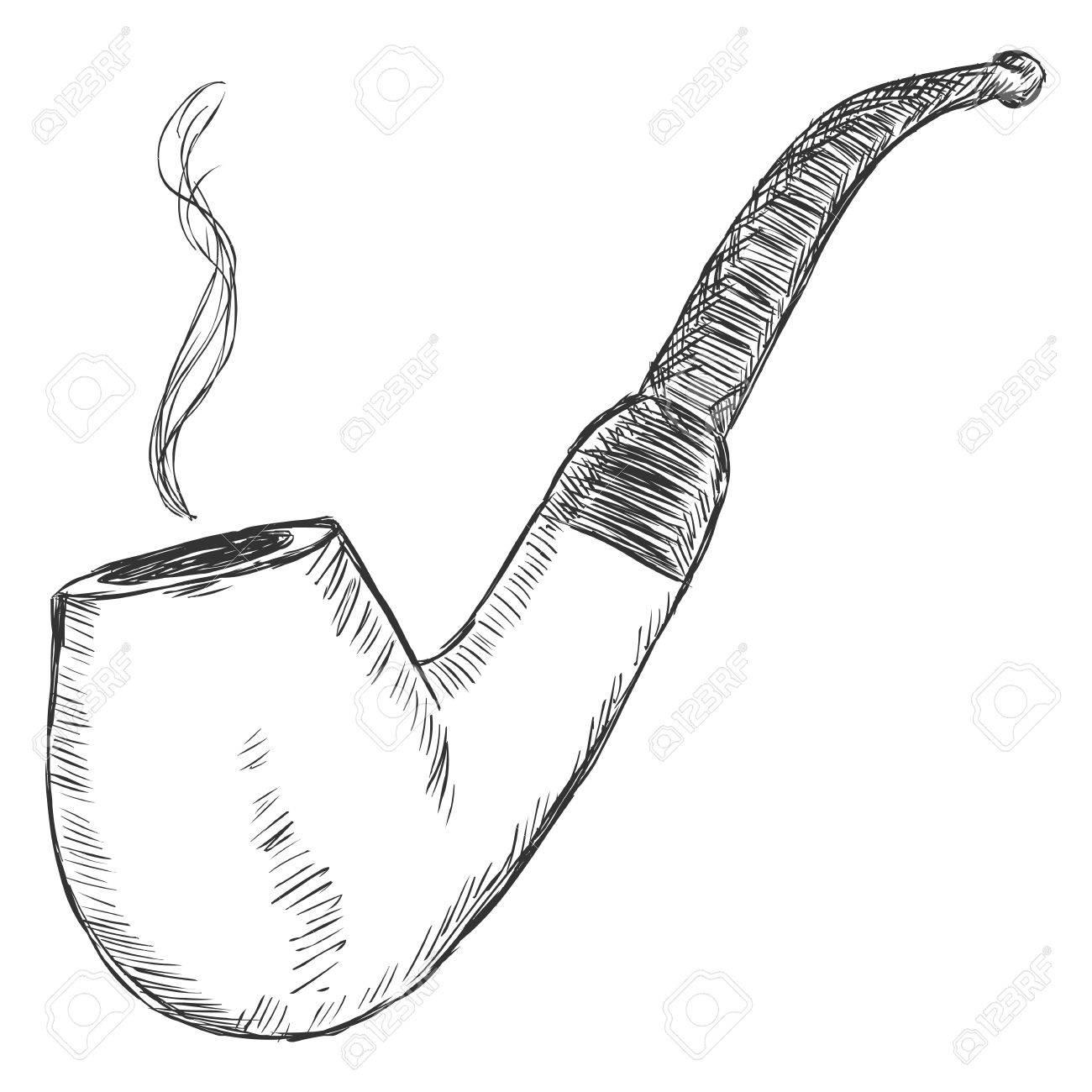 1300x1300 Vector Single Sketch Tobacco Pipe