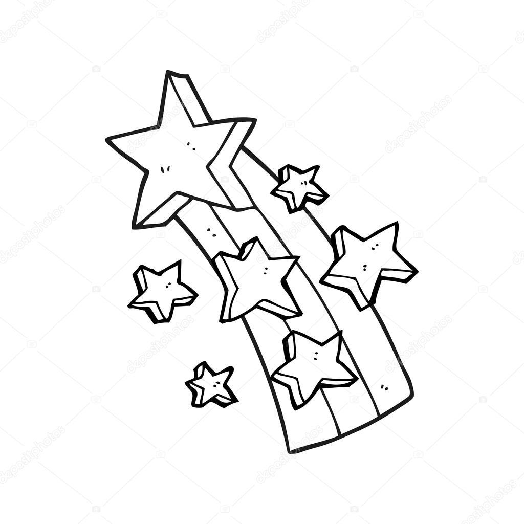 1024x1024 Black And White Cartoon Shooting Star Stock Vector