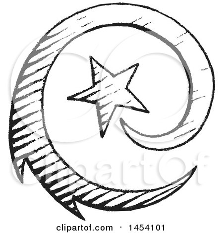 450x470 Clipart Of A Black And White Sketched Spiraling Shooting Star