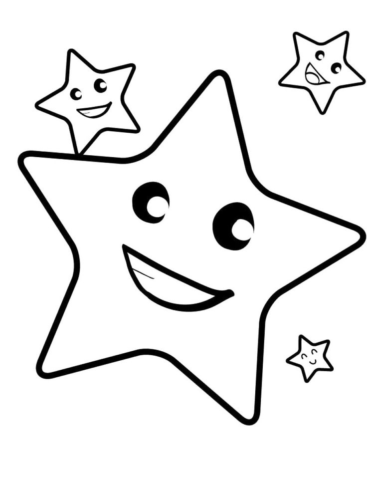 736x956 Star Coloring Page Free Download