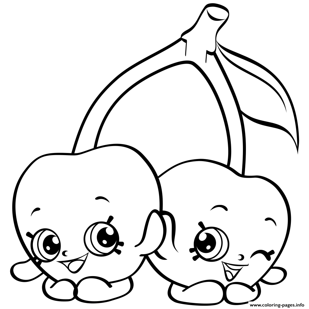 1024x1024 Cartoon Cherries Shopkins Season 4 Coloring Pages Printable