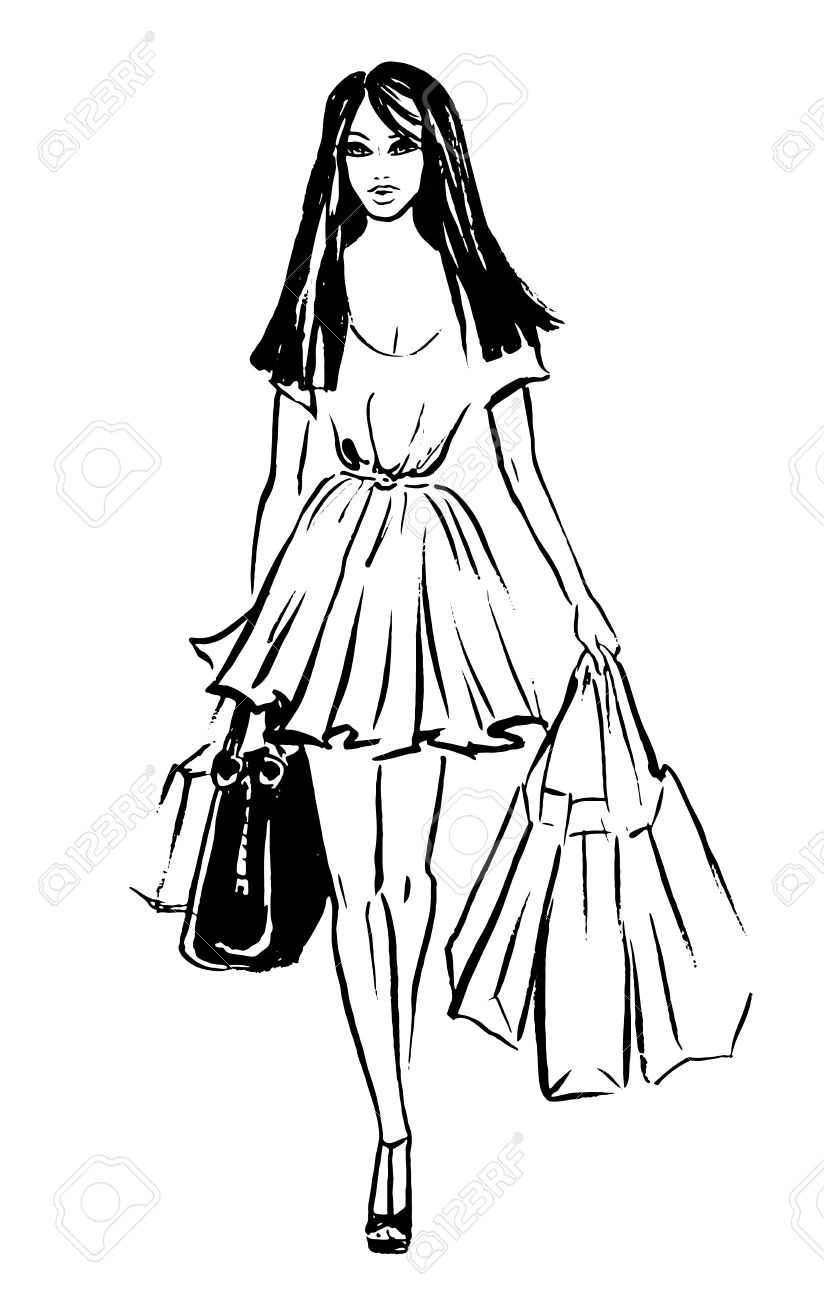 824x1300 Fashion Sketch Of Beautiful Woman With Shopping Bags Royalty Free