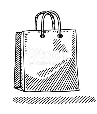 383x447 Hand Drawn Vector Drawing Of A Paper Shopping Bag. Black And White