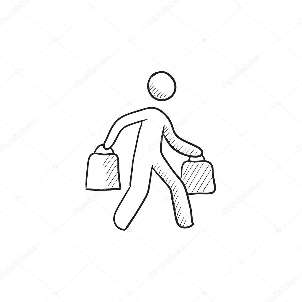 1024x1024 Man Carrying Shopping Bags Sketch Icon. Stock Vector Rastudio