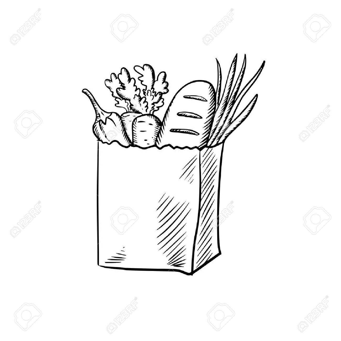 1300x1300 Paper Shopping Bag With Fresh Carrot, Green Onion, Zucchini