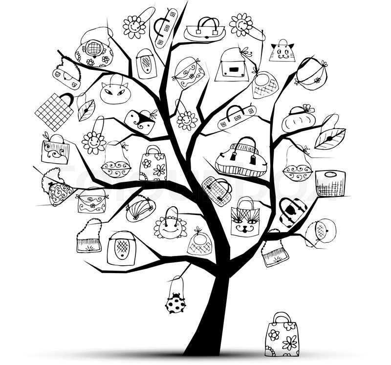 800x747 Shopping Bags On Tree For Your Design Stock Vector Colourbox