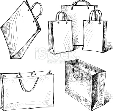 380x372 Vector Drawings Of A Bags For A Shopping. Croquis, Illustrations