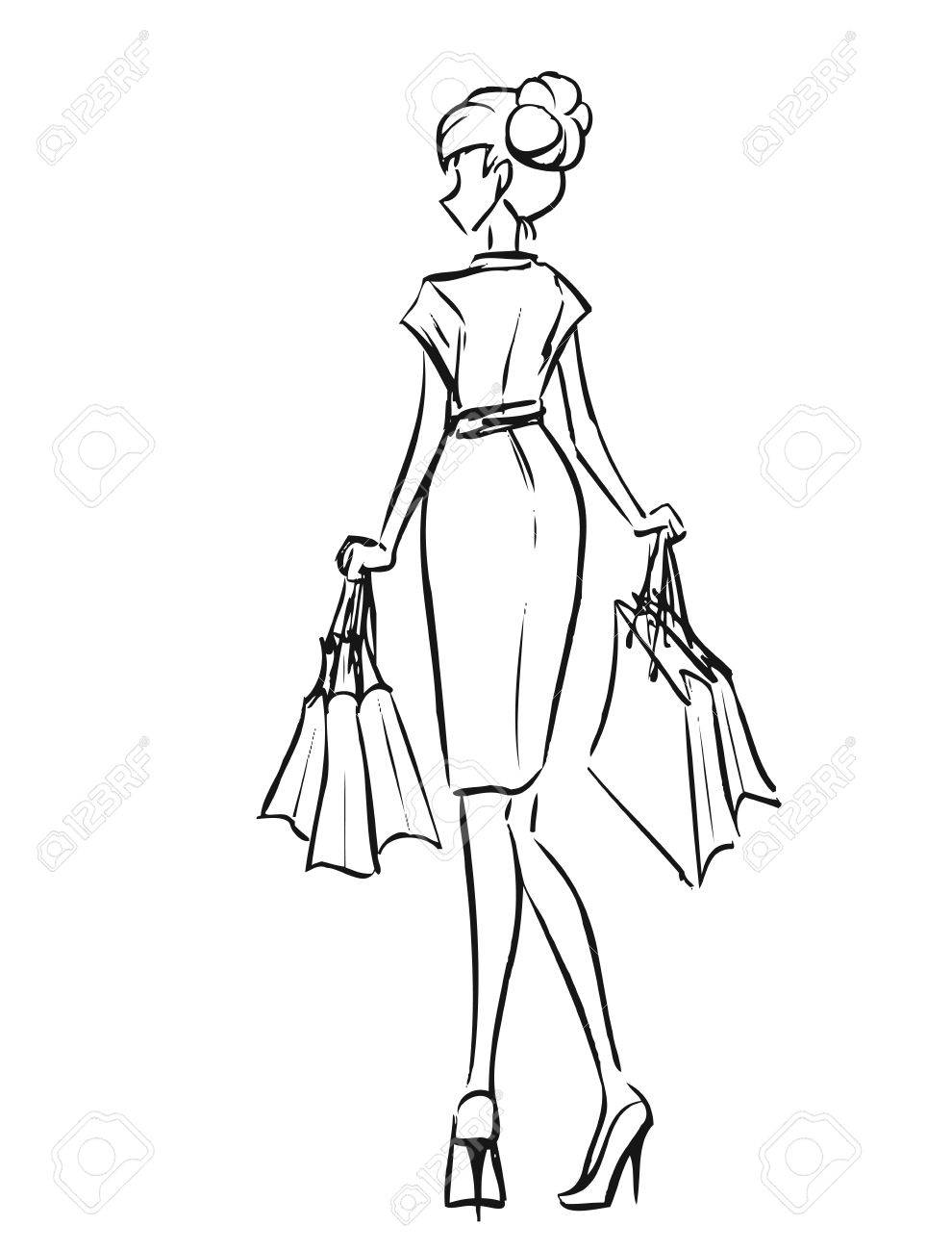 990x1300 Young Slender Woman In Short Dress After Shopping. Girl Holds