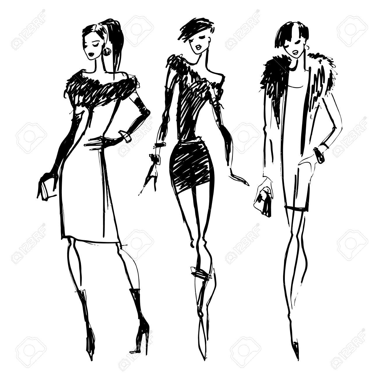 1300x1300 Black Silhouette Woman Purple Shopping Bag Clipart Fashion