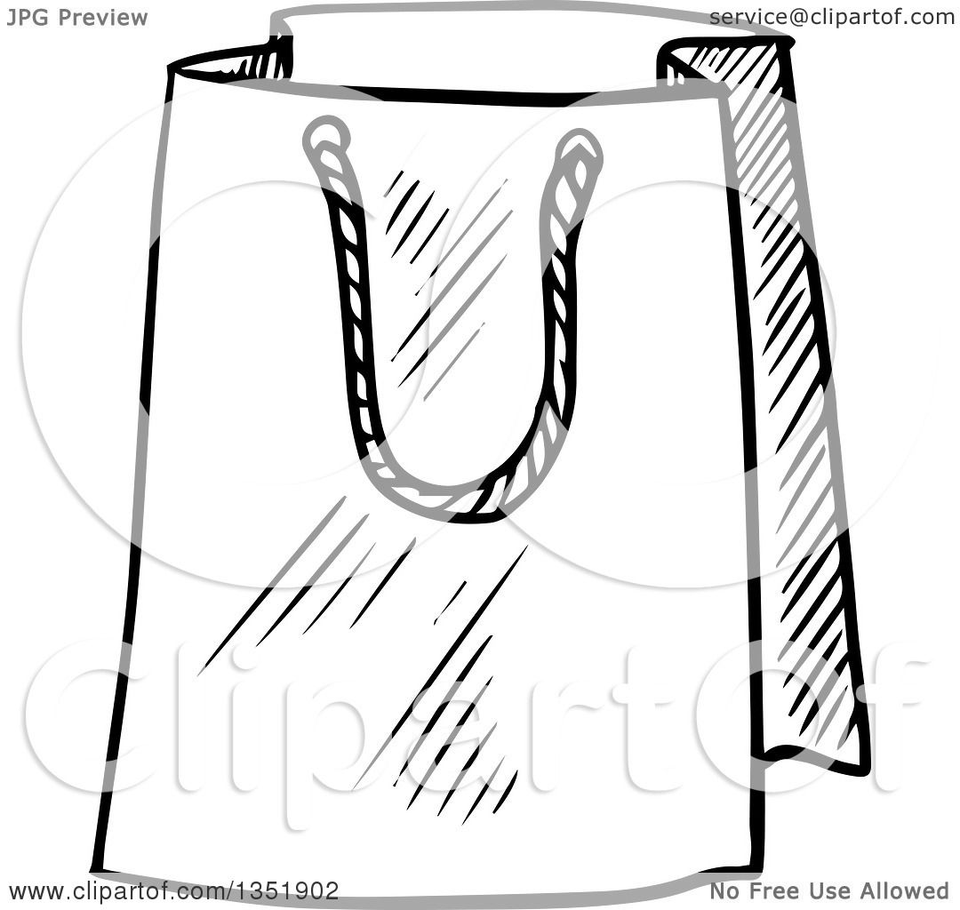 1080x1024 Clipart Of A Black And White Sketched Gift Or Shopping Bag
