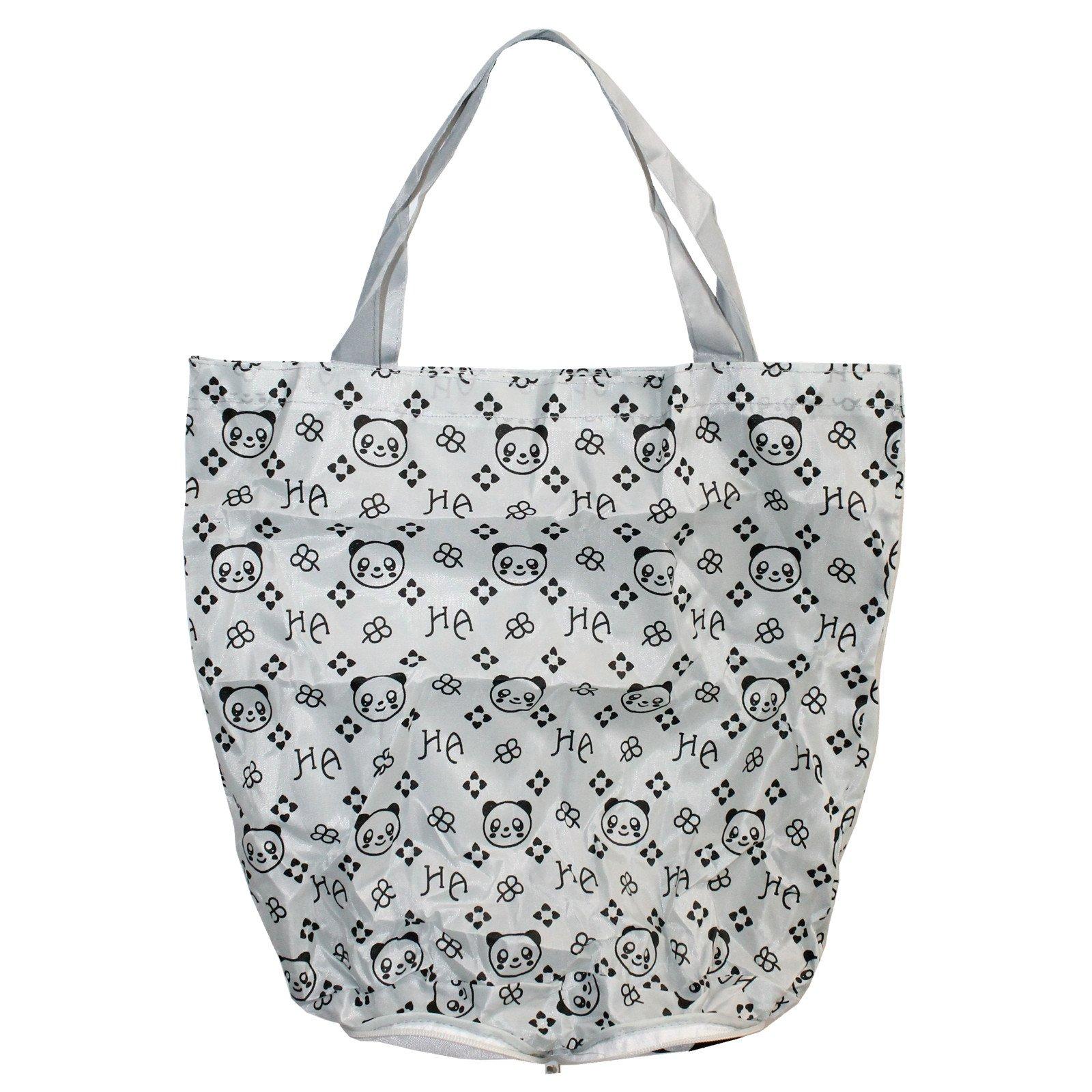 1600x1600 Panda Bear White Foldable Shopping Bag W Zipper Ufindings, Inc.