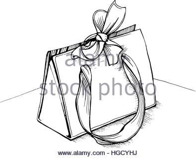 395x320 Bag Gift Paper Shopping Sketch Vector Illustration Eps 10 Stock